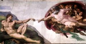 La creación de Adán de Miguel Ángel Buonarroti, en la Bóveda de la Capilla Sixtina