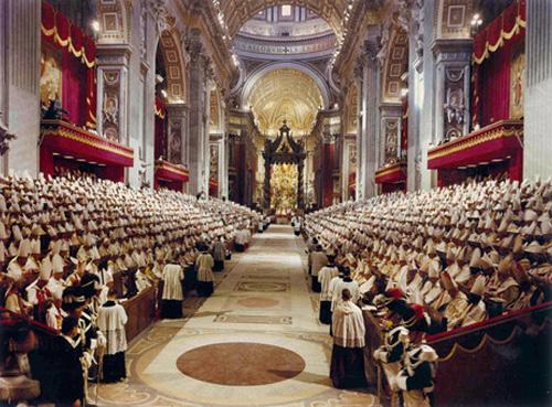 Foto del Concilio Vaticano II, que se realizó en Roma entre 1962 y 1965