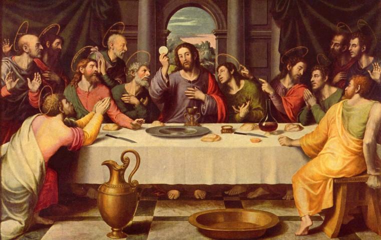 """""""Tomó Jesús pan y lo bendijo, lo partió y, dándoselo a sus discípulos, dijo: 'Tomad, comed, éste es mi cuerpo'""""[5]."""
