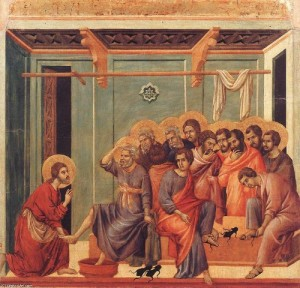 """""""El Señor, habiendo amado a los suyos, los amó hasta el fin. Sabiendoque había llegado la hora de partir de este mundo para retornar asu Padre, en el transcurso de una cena, les lavó los pies y les dio elmandamiento del amor""""[19]."""